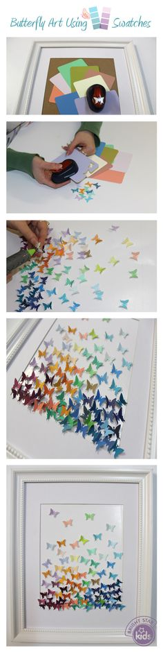 Butterfly Art Using Paint Swatches! We& put together an easy and beautiful DIY art project using a stamp punch and colour swatches! Check out Bright Star Fun Crafts, Diy And Crafts, Crafts For Kids, Arts And Crafts, Paper Crafts, Butterfly Crafts, Butterfly Art, Butterflies, Diy Art Projects