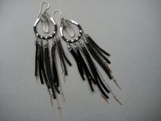 Shadow Dance Leather Fringe Earrings with Wire by AuroraShadow, $56.00