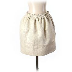 Pre-owned Pins and Needles Formal Skirt (1.465 RUB) ❤ liked on Polyvore featuring skirts, gold, gold skirt, pin skirt, white knee length skirt, white skirt and formal skirts