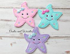 Starfish Headband Slider, Starfish Appliques, Felt Embroidered Star Fish Slider for Headbands, Beach Appliques, Sliders For Headbands