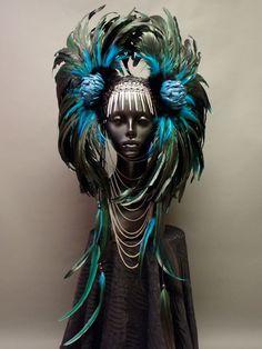 CUSTOM ORDER Large Warrior Style Headdress. $425.00, via Etsy.