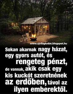 Sokunk álma ez az erdőben található kicsike ház. Don't Give Up, Picture Quotes, Tiny House, Best Quotes, Inspirational Quotes, House Styles, Life, Living Alone, Teachers