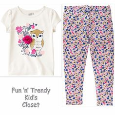NWT Crazy 8 Girls Size 4T 5T Owl Tee Shirt Top & Floral Leggings 2-PC OUTFIT SET #Crazy8 #Everyday