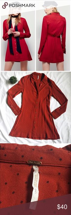 """Free People This Town Polka Dot Shirtdress Red Free People S """"This Town"""" Polka Dot Long Sleeve Button Down Shirt Dress. Dress is a Burnt Orange/Red Color with black/blue polka dots. Free People Dresses Long Sleeve"""