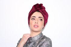 red velvet turban, velvet turban hat, flower turban, turban hat, Chemo hat, women's turban, modern hijab, fashion hair wrap