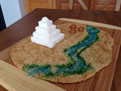 Ancient Egypt Cooke Map (sugar cookie dough, colored sugar, caramels and sugar cubes) - Kindergarten Snack - History Snack - Kids Snack