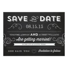 Chalkboard Wedding Save the Date Vintage Chalkboard by Origami Prints Save the Date Card
