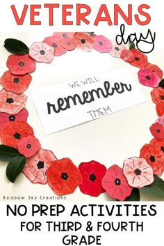 Check out these Veterans Day activities to teach kids about the significance of this day. Teach them to commemorate with poppy crafts and other learning & reflective printables and worksheets {Grade 3, Grade 4, third grade, fourth grade, homeschool} #veteransday #veteransdayactivities #rainbowskycreations Remembrance Day Activities, Veterans Day Activities, Poppy Craft For Kids, Crafts For Kids, Creation Activities, Addition Activities, Spring Activities, Sensory Activities, Harmony Day