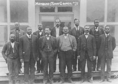 Town Council of Boley, Oklahoma circa 1907 - 1910.  An all-Black town, Boley was the largest and most renowned of these was twice inspected by African American educator Booker T. Washington, who lauded the town in Outlook Magazine in 1908.