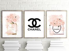 Set of 3 prints Glamour Art Inspired By Chanel bottle Perfume, Girls Room Fashion Set of 3 prints Watercolor Wall Decor, Perfume Bottle. 149 - Set of 3 prints Glamour Art Inspired By Chanel bottle Perfume, Girls Room Fashion Set of 3 prints W - Chanel Room, Chanel Wall Art, Chanel Decor, Chanel Art, Coco Chanel, Tv Wall Decor, Room Decor, Girls Room Wall Decor, Bedroom Wall