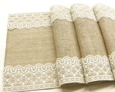 Burlap table runner burlap and lace rustic table by HotCocoaDesign