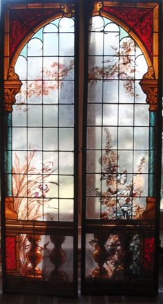 Pair of French stained glass panels