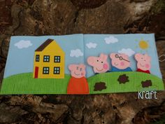 Happy pigs finger puppets Pig family quiet book by AllAboutKraft