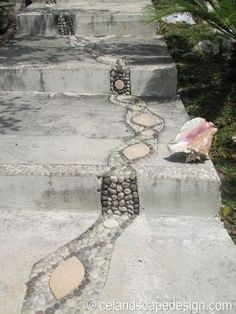 Love how this mosaic meanders across the steps