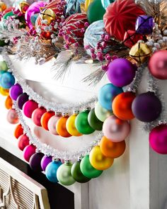 Cody Foster & Co Rainbow and Tinsel Large Silver Garland Cody Foster & Co Regenbogen und Lametta Große silberne Girlande Whimsical Christmas, Christmas Love, Winter Christmas, Christmas Crafts, Colorful Christmas Tree, Christmas Ideas, Diy Christmas Garland, Silver Tinsel Christmas Tree, Mexican Christmas