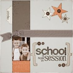 The first day of school is right around the corner. This time of year always brings lots of excitement and I'm eager to share some fun techn. School Scrapbook Layouts, Scrapbook Layout Sketches, Kids Scrapbook, Card Sketches, Scrapbook Paper Crafts, Scrapbook Supplies, Scrapbooking Layouts, Scrapbook Cards, Ppr