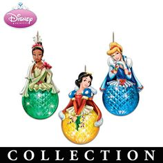 Disney Princess Ornaments With Faceted Illuminated Globes  Disney Princess Sparkling Dreams Ornament Collection