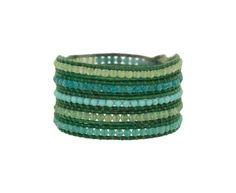 ChanLuu-Turquiose and Blue Quartz Leather Wrap Bracelet