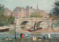 """""""Sur la passerelle des Arts-Paris"""" de Michel Delacroix sur www.carterie-poitiers.com"""