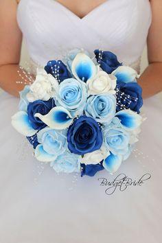 Blue Orchid Bouquet, Blue Orchid Wedding, Blue Silver Weddings, Gold Wedding Theme, Blue Orchids, Wedding Colors, Dark Blue Flowers, Blue Roses, Wedding Ideas Blue