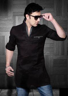 Męska koszula lniana czarna uniwersalna casual