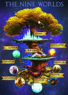 Yggdrasil as pictured in a Magnus Chase poster. The nine wolds in Norse mythology exist throughout Yggdrasil, the world tree. There is also a squirrel (Ratatosk), an eagle, and a snake, (Nidhogg) that live in the ash tree. Tio Rick, Uncle Rick, Magnus Chase, Thor, Vikings, Asgard, Rick Riordan Books, Percy Jackson Fandom, Heroes Of Olympus