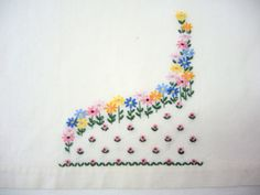 Vintage Tea Towel Flower Garden Embroidery by injoytreasures, $8.00