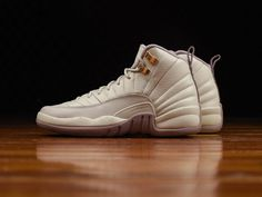Colorway: Light Bone/Metallic Gold Star-Plum Fog Style Code: 845028-025  This Air Jordan 12 comes dressed in a mixture of Light Bone, Metallic Gold Star and Plum Fog color scheme. The shoe features a premium Light Bone leather upper with Metallic Gold details and Plum Fog contrasting accents.