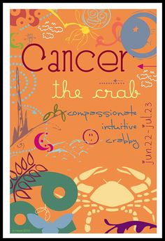 Zodiac CANCER 4x6 Digital Print $16- Everlee & I