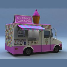 Buy models for your project from our vast online catalog of cars, people, textures, architectural models and more. Caravan Bar, Ice Cream Theme, Ice Cream Van, Food Truck Design, Kiosk Design, Coffee Truck, Food Trailer, Trucks, Vehicles