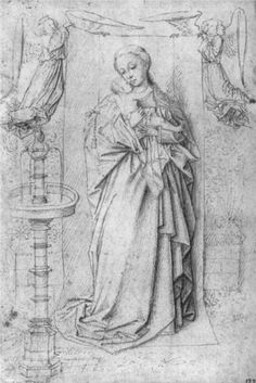 Copy Drawing of Madonna by the Fountain by Jan van Eyck