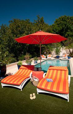 Chaise Lounges in my fav Orange stripe- Italian style in Sarasota