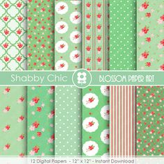 Digital Paper Red Green Flowers Digital Paper by blossompaperart