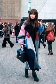 Miroslava Duma colourful coat