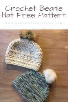 Crochet Beanie Hat Pattern #crochet #beginnercrochet #crochethats #crochetbeanie #beanie #beaniehat #winterhat