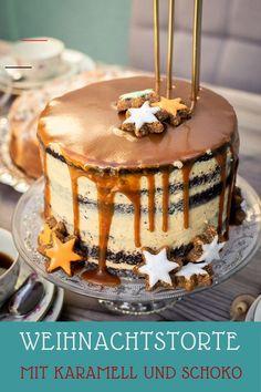 #repashalloweenfacile - Weihnachtliche Torte mit leckeren Schokoböden, Peanut-Butter-Creme und Karamellguss. Die Schokoladenböden wurden mit Lebkuchengewürz aromatisiert.... Protein Desserts, Protein Shake Recipes, Best Protein Shakes, Party Desserts, Dessert Recipes, Toffee Cheesecake, Caramel Icing, Cake Flavors, Drip Cakes
