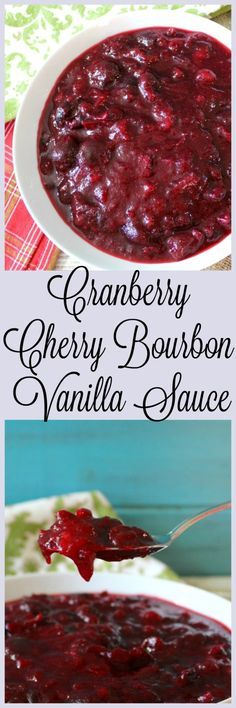 Cranberry Cherry Bourbon Vanilla Sauce - A sweet, yet tart cranberry sauce made with fresh cranberries, cherries and apple juice with the aroma of vanilla with hint of smokey bourbon.