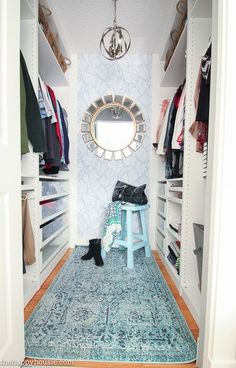 Master Bedroom Makeover Walk in Closet reveal #masterbedroom #closetorganization Master Bedroom Closet, Master Bedroom Makeover, Dream Bedroom, Hippie Style Rooms, Blogger Home, Pastel Room, Blue Home Decor, Walk In Closet, Baby Room Decor