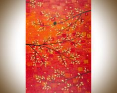 36 Contemporary Red Abstract Painting Palette Knife by QiQiGallery