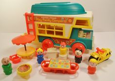 Fisher Price Little People Camper Boat Motorcycle Ladder Dog Complete 1970's - My sister and I played with this set non-stop throughout the 1970's. Our Little People went on a LOT of camping trips.