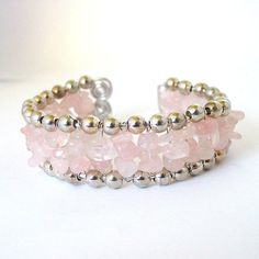 Rose Quartz and Silver Chunky Bangle  One Size Fits by Pookledo, £20.00