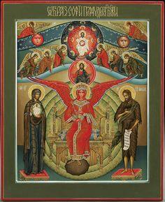 "Diana Arkhi (Arkhipova) (b. 1970, Chișinău, Moldova), Sophia Wisdom of God icon, 21-1/4"" x 17-1/4"""