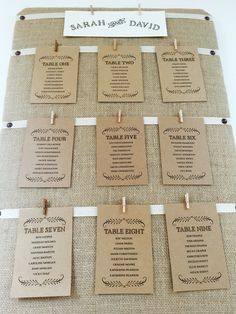 Hessian table plan with brown table plan cards.