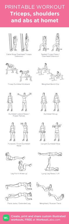 Triceps, shoulders and abs at homet: my visual workout created at WorkoutLabs.com • Click through to customize and download as a FREE PDF! #customworkout