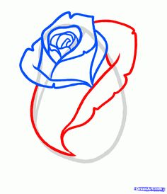 how to draw a rose bud, rose bud step 5