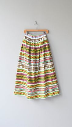 Xochimilco skirt vintage 1960s maxi skirt colorful by DearGolden
