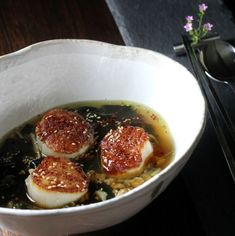 Traditionally this satisfying soup is savored by Korean mothers who have just given birth as a restorative meal, to replenish vitamins and nutrients. Consequently, it is also enjoyed on one's birthday, as a way to commemorate that special day.  Here, the addition of some gorgeous huge Atlantic Sea Scallops definitely adds to the celebration.