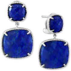 Effy Lapis Lazuli Drop Earrings (19 ct. t.w.) in Sterling Silver ($210) ❤ liked on Polyvore featuring jewelry, earrings, blue, sterling silver jewelry, drop earrings, sterling silver earrings, blue earrings and lapis lazuli jewelry