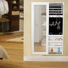 Songmics Armario Joyero de pared con espejo para joyas,joyero de madera de pie,color Blanco JBC25W: Amazon.es: Hogar