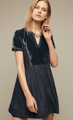 c0ad4987939a Ingrid Velvet Tunic Dress from Anthropologie in Dark Turquoise. The Mauve  is gorgeous too